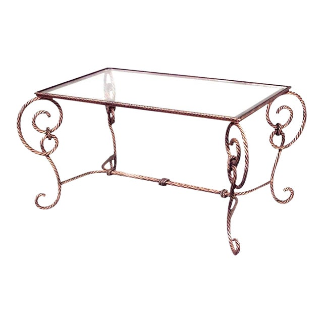 Art Moderne Rope and Tassel Design Gilt Metal Coffee Table For Sale