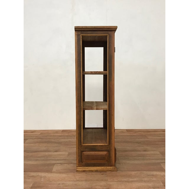 Reclaimed Wood & Glass Display Cabinet For Sale - Image 4 of 4