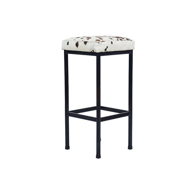Mid-Century Retro Iron and Cowhide Barstools - A Pair - Image 2 of 6