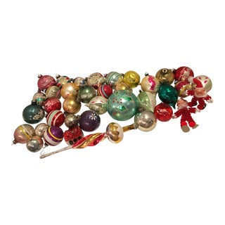 Vintage Assorted Glass Christmas Bulbs - Set of 37 For Sale