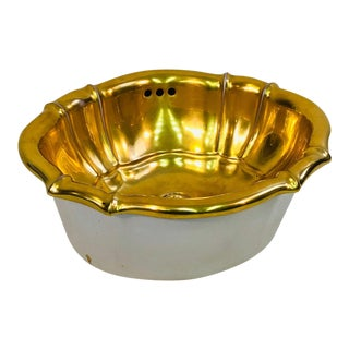 1970s Vintage Sherle Wagner Gold Leaf Porcelain Sink Basin For Sale