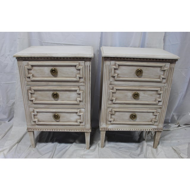 20th Century Swedish Gustavian 3-Drawer Nightstands - a Pair For Sale - Image 9 of 9