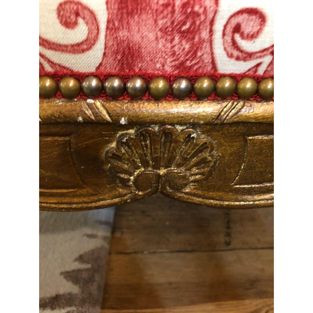 1950s Vintage Carved Giltwood Fauteuil Arm Chair For Sale In Philadelphia - Image 6 of 13