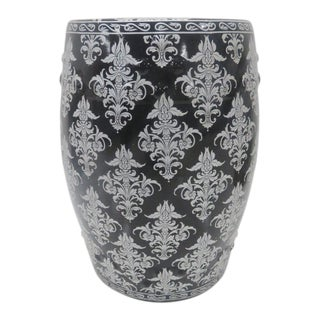 Chinese Black & Silver Leaf Garden Stool