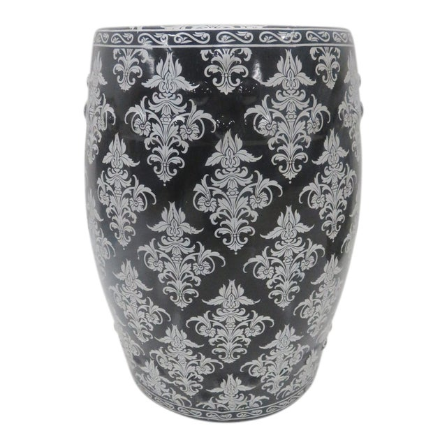 Chinese Black & Silver Leaf Garden Stool For Sale