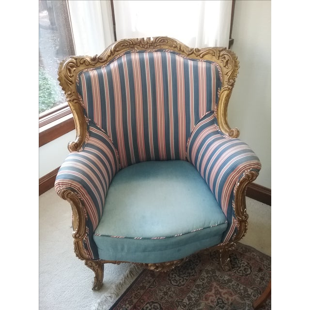 Antique Louis XIV Style Wing Chair - Image 2 of 7