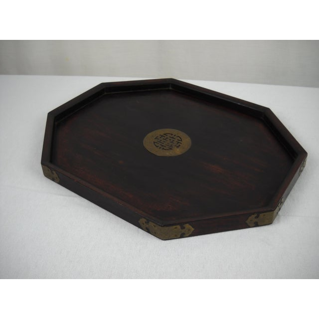 Asian Wood and Brass Serving Tray - Image 3 of 8