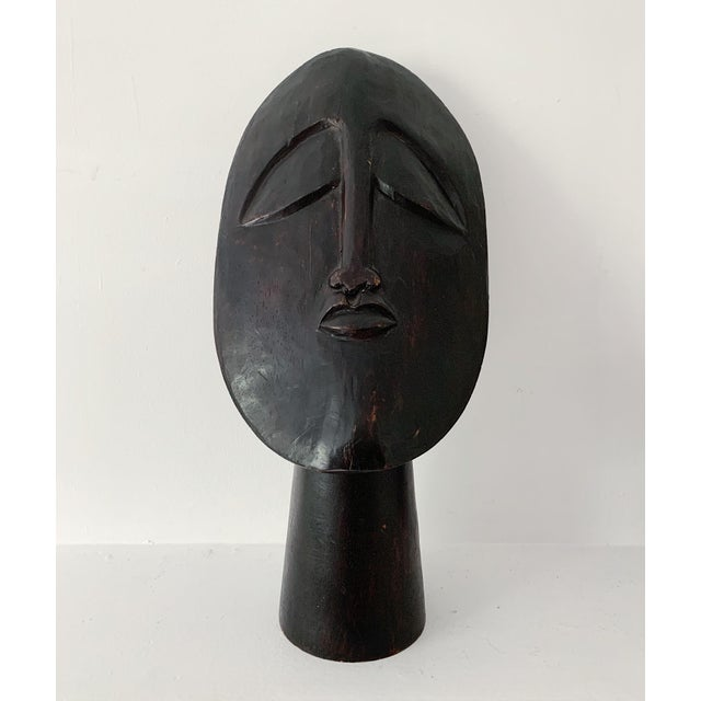1970s Vintage Hand Carved Wooden African Head Sculpture For Sale - Image 11 of 11
