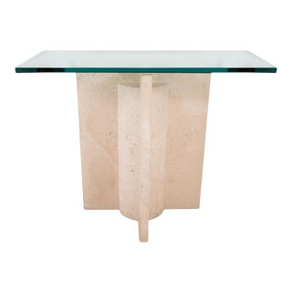 Geometric Motif Travertine Console Table For Sale