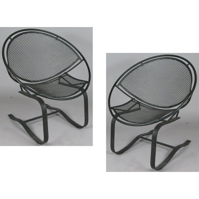 Black Wrought Iron Radar Lounge Chairs by Salterini, Circa 1950 - a Pair For Sale - Image 8 of 8