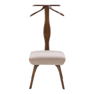Italian Valet Chair in Walnut, Mohair and Italian Leather Piping