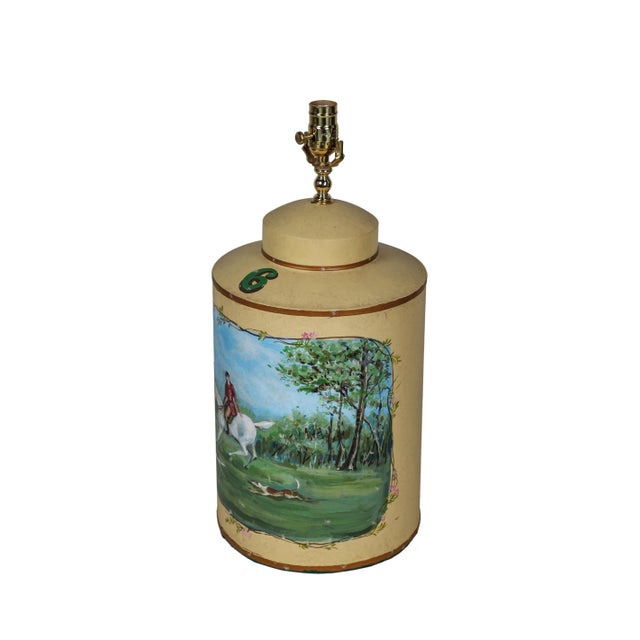 Vintage English Hand-Painted Hunting Scence Tea Caddy Table Lamp For Sale - Image 4 of 7