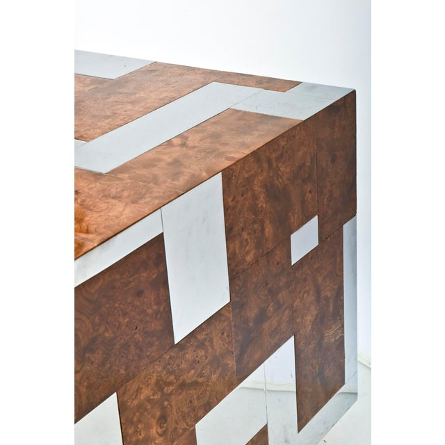 American Modern Burl Walnut and Chrome Two-Door Cabinet, Paul Evans For Sale In Miami - Image 6 of 9