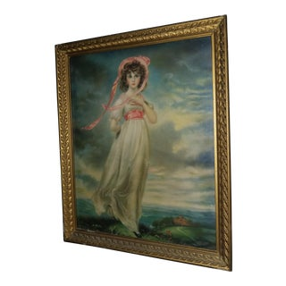 Art Deco Print Girl in Pink & Gesso Frame