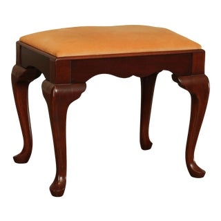 Hickory Chair Co. Vintage Mahogany Queen Anne Stool or Vanity Bench For Sale
