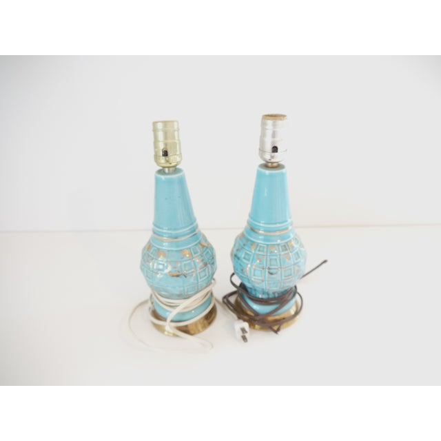 Mid-Century Blue & Gold Faceted Ceramic Lamps - Image 3 of 5