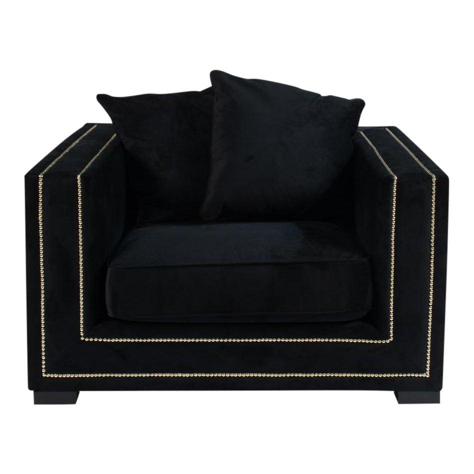 Bridges black velvet chair chairish