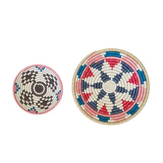 Handwoven Rwandan Mutlicolor Sweetgrass Coil Baskets - a Pair