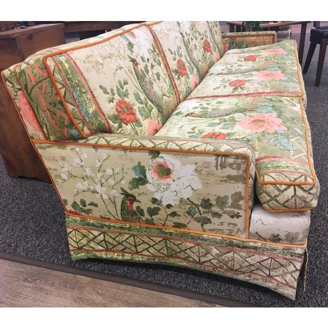 Mid-Century Modern Custom Hollywood Regency Peacock Fabric Vintage Sofa For Sale - Image 3