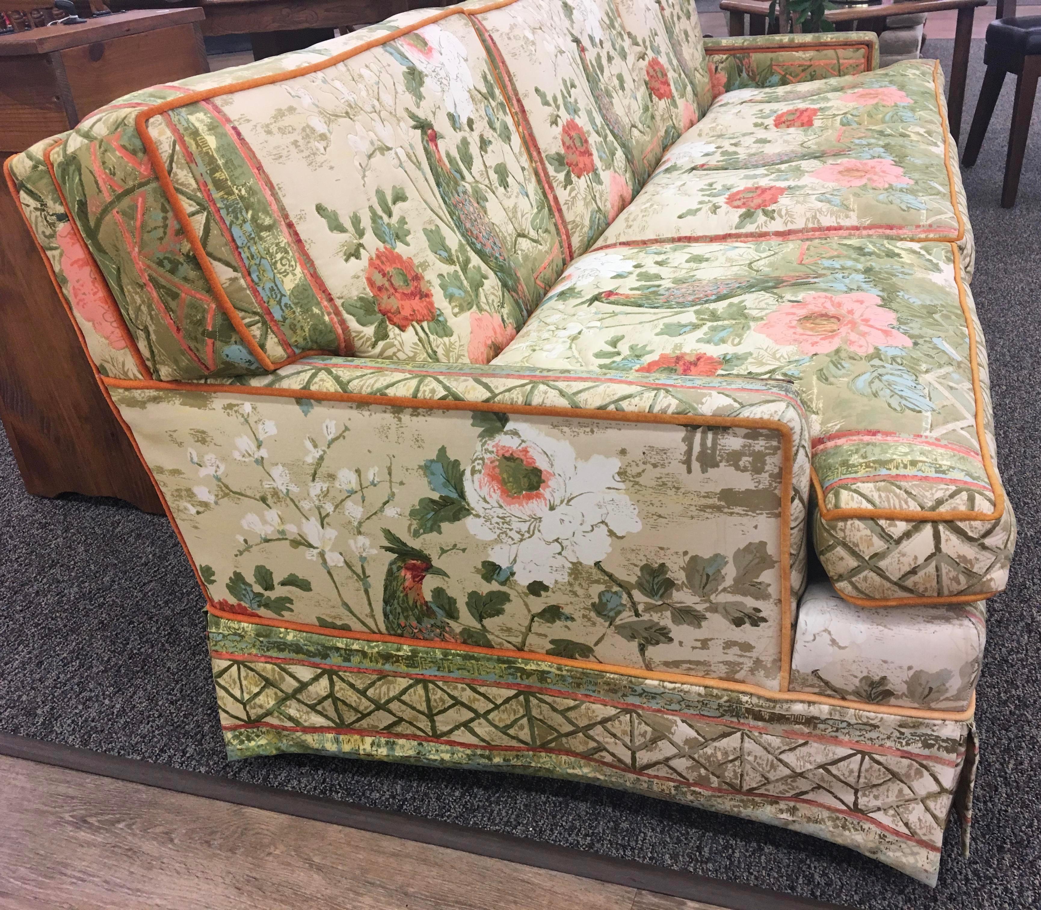 Mid Century Modern Custom Hollywood Regency Peacock Fabric Vintage Sofa For  Sale   Image 3