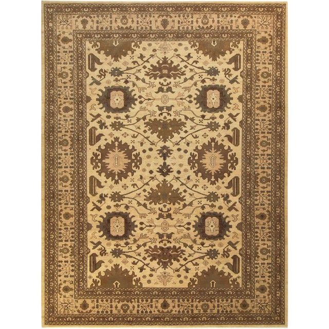 "Kafkaz Peshawar Casey Ivory & Tan Wool Rug - 10'2"" x 13'6"" For Sale"
