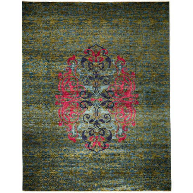 """Suzani Hand Knotted Area Rug - 8'0"""" X 10'0"""" For Sale"""