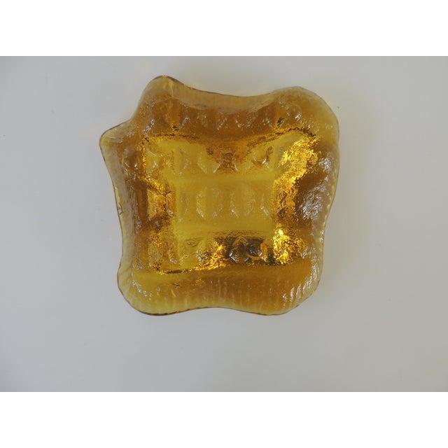 1970s Brutalist Blenko Amber Biomorphic Glass Bowl For Sale - Image 10 of 12