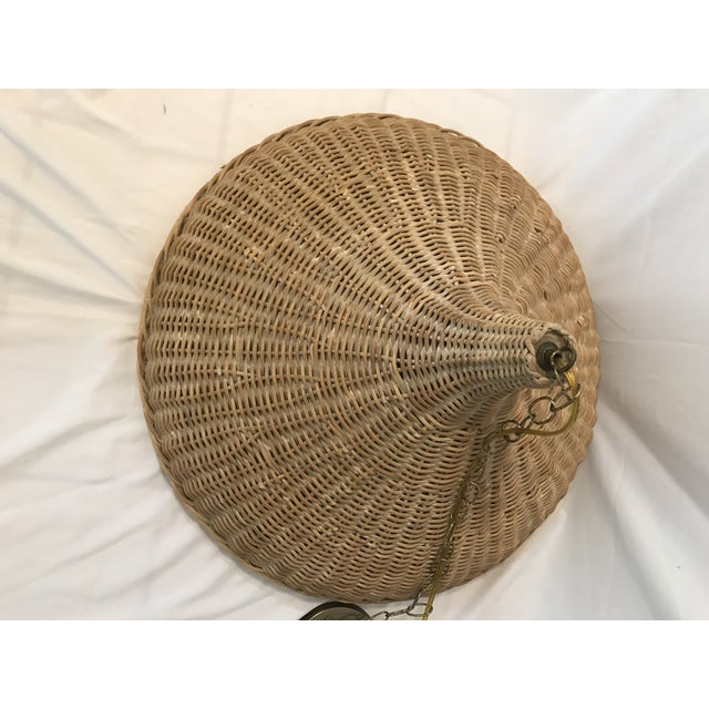 Chinoiserie Mid 20th Century Vintage Wicker Parasol Pendant Light For Sale - Image 3 of 8