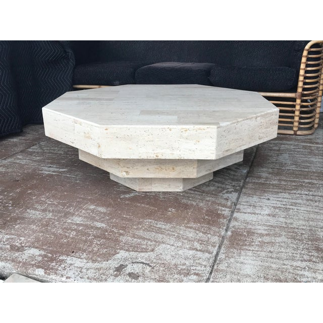 Octagonal Stacked Travertine Coffee Table For Sale - Image 4 of 12