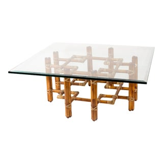 McGuire Bamboo Rattan Coffee Table For Sale