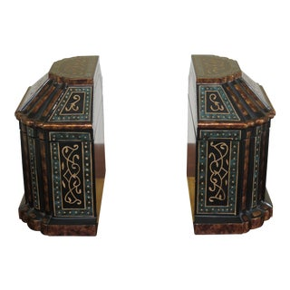 Incised Carved Flip Top Box Bookends - a Pair For Sale