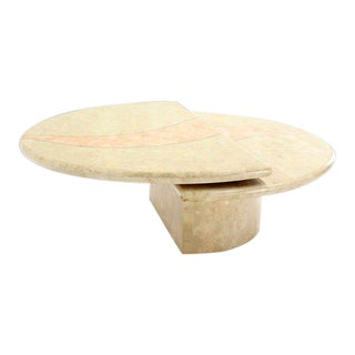 Revolving Expandable Tessellated-Top Round Coffee Table For Sale