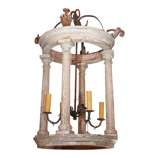 Large French and Iron Wood Painted Lantern For Sale
