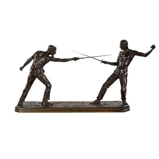 Nicolas Mayer French Bronze Sculpture of Two Fencers For Sale