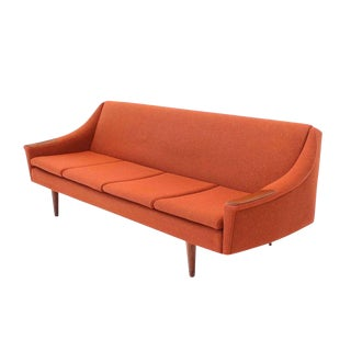 Rare Danish Modern Convertible Brick Wool Upholstery Daybed Sofa For Sale