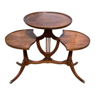 Duncan Phyfe Style Burl Walnut & Mahogany Banded Double Pedestal Table For Sale