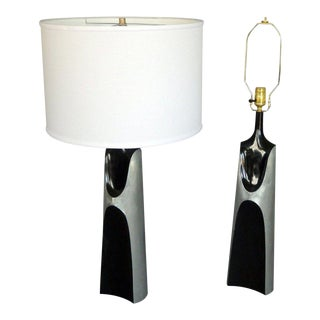 Pair of Black Lacquer Trimmed Brutalist Style Table Lamps For Sale