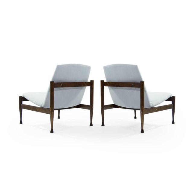Danish Modern Brass Accented Lounge Chairs - a Pair For Sale - Image 4 of 10