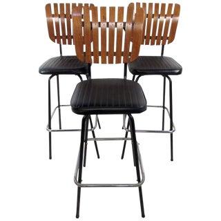 Three Vintage Modern Arthur Umanoff Swivel Bar Stools For Sale