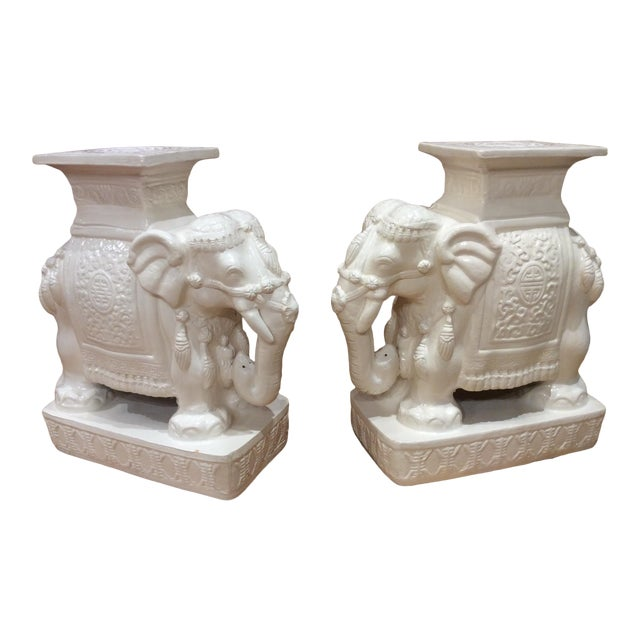 Vintage White Glazed Pottery Elephant Tables/Stands - a Pair For Sale