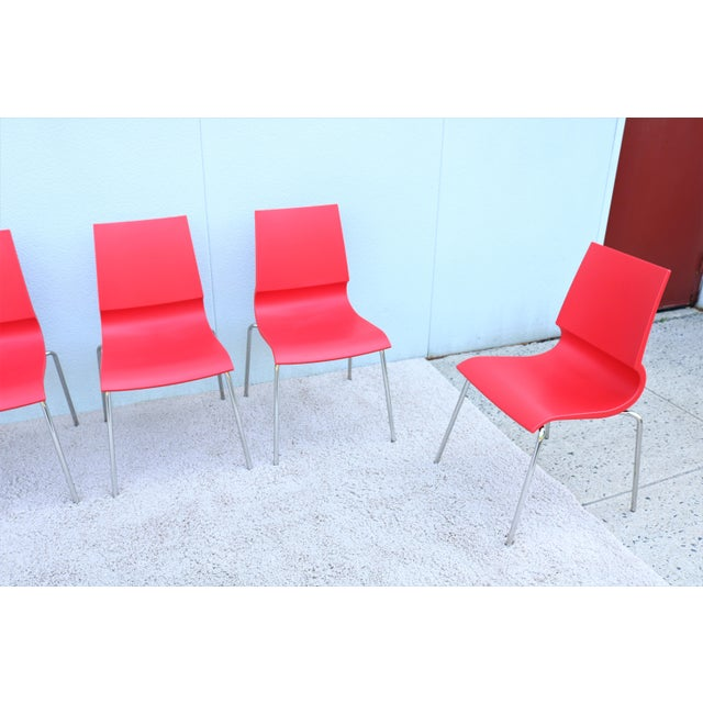 Italian Modern Marco Maran for Maxdesign Red Ricciolina Dining Chairs - Set of 6 For Sale - Image 4 of 13