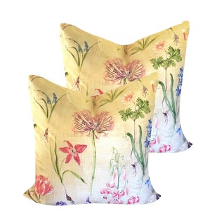 "Shabby Chic 22"" Lee Jofa Wild Flowers Pillow Covers - a Pair For Sale"