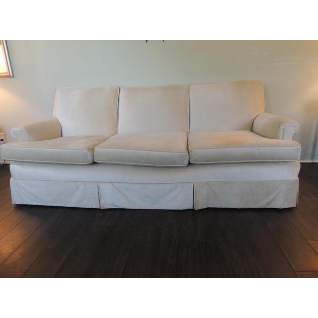 Vintage Long Three Cushion Velvet Upholstered Sofa For Sale - Image 9 of 11