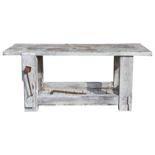 1900s Rustic Whitewashed Worktable Console For Sale