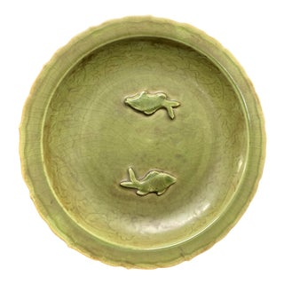 Mid 20th Century Chinese Art Ming Style Porcelain Longquan Celadon Fish Design Charger For Sale
