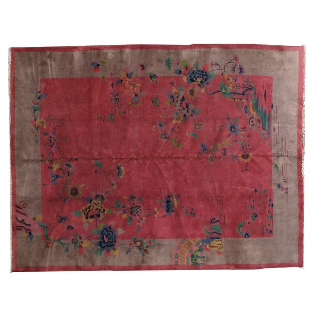 1920s Antique Art Deco Chinese Rug - 8′10″ × 11′8″ For Sale - Image 10 of 10