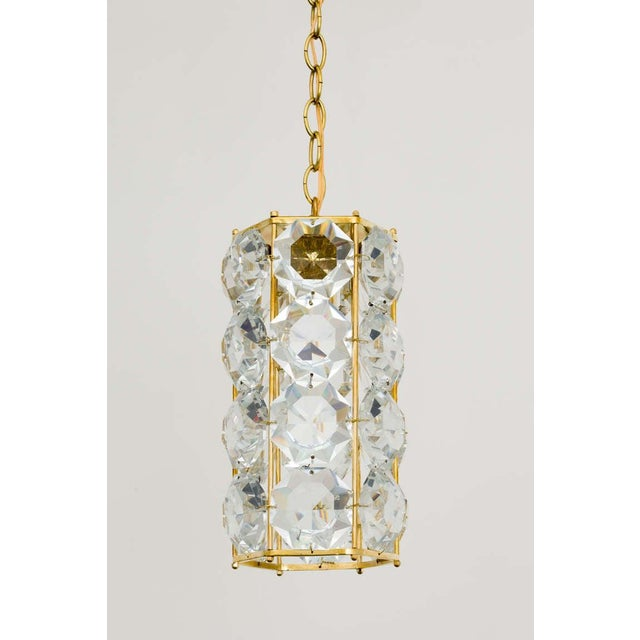 Mid-Century Modern German 1960s Gilt Brass and Hexagonal Crystal Chandeliers - a Pair For Sale - Image 3 of 7