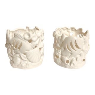 White Seashell Cachepots, Pair For Sale