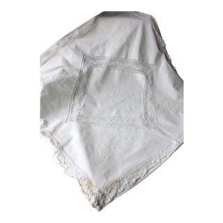1900 Antique French Rr Lace White Cotton Linen Eurosham Pillow Case For Sale