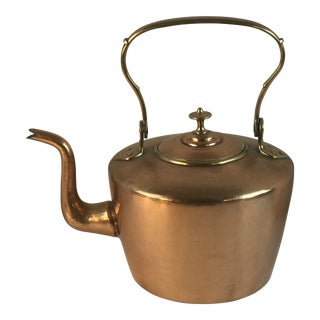 Late 19th Century Vintage Copper Water Tea Kettle For Sale
